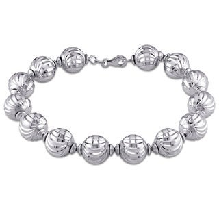 Miadora Signature Collection 18k White Gold diamond-cut Bead Bracelet