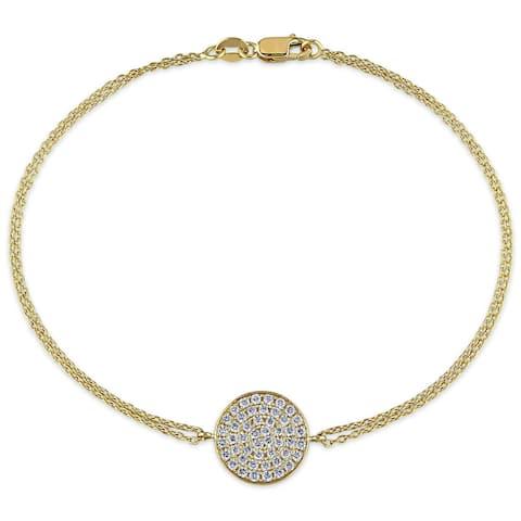 Miadora Signature Collection 18k Yellow Gold 1/2ct TDW Diamond Cluster Charm Bracelet - White