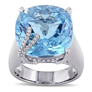 Miadora Signature Collection 14k White Gold Blue Topaz and 1/3ct TDW Diamond Cocktail Ring (G-H, SI-SI2)