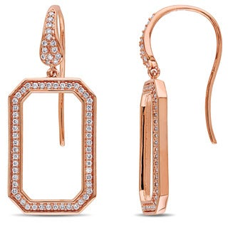 Miadora Signature Collection 14k Rose Gold 1/2ct TDW Diamond Geometric Dangle Earrings (G-H, SI1-SI2)