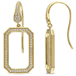 Miadora Signature Collection 14k Yellow Gold 1/2ct TDW Diamond Geometric Dangle Earrings (G-H, SI1-SI2)