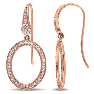Miadora Signature Collection 14k Rose Gold 1/2ct TDW Diamond Geometric Oval Dangle Earrings