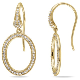 Miadora Signature Collection 14k Yellow Gold 1/2ct TDW Diamond Geometric Oval Dangle Earrings (G-H, SI1-SI2)