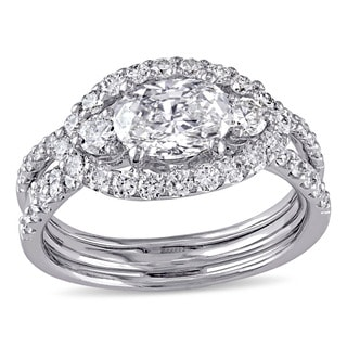 Miadora Signature Collection 18k White Gold 2 1/10ct TDW Diamond Bridal Ring Set