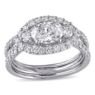 Miadora Signature Collection 18k White Gold 2 1/10ct TDW Diamond Bridal Ring Set
