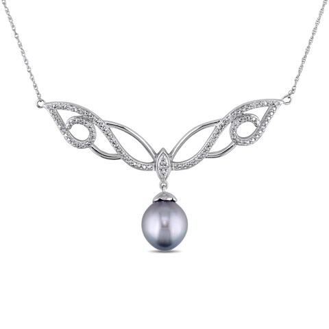 Miadora Signature Collection 10k White Gold Tahitian and 1/10ct TDW Diamond Necklace (G-H, I2-I3) (9.5-10 mm)