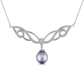 Miadora Signature Collection 10k White Gold Tahitian and 1/10ct TDW Diamond Necklace (G-H, I2-I3) (9.5-10 mm)|https://ak1.ostkcdn.com/images/products/10877336/P17914080.jpg?impolicy=medium