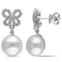 Miadora Signature Collection 14k White Gold Cultured FW Pearl 1/4ct Diamond Butterfly Earrings (G-H, SI1-SI2)