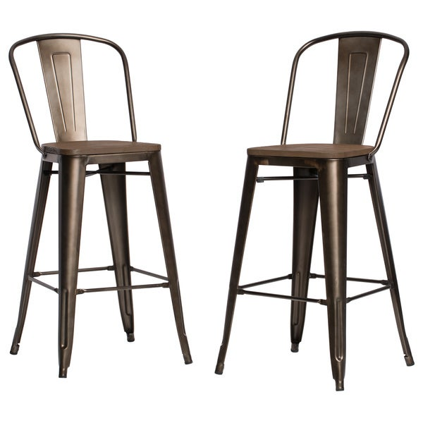 Tabouret bistro wood seat vintage finish bar stools set of 2 as is item - Tabouret bar vintage ...