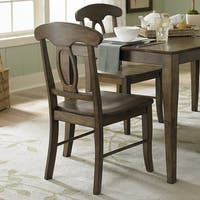 TRIBECCA HOME Barnet Walnut Napoleon Casual Side Chair (Set of 2) (As Is Item)