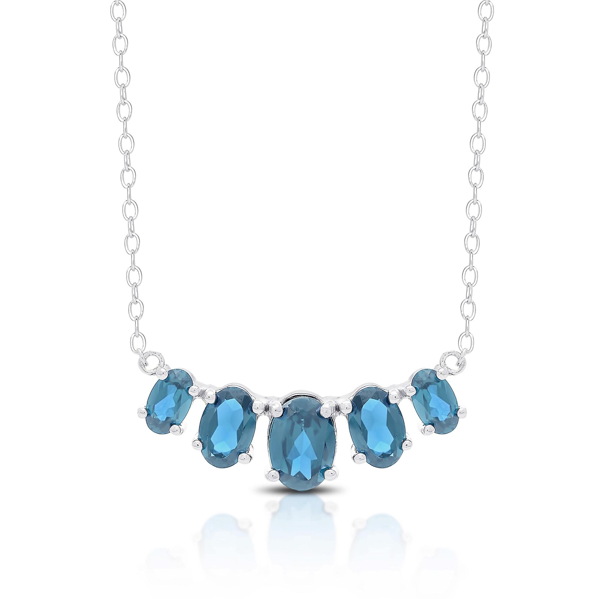 Dolce Giavonna Sterling Silver London Blue Topaz Five Sto...