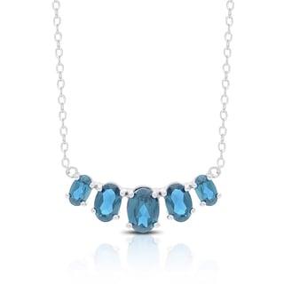 Dolce Giavonna Sterling Silver London Blue Topaz Five Stone Bib Necklace