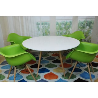 Paris Tower Round Table 5-Piece Dining Set (Option: Green/White/Natural - Green Finish/White Finish/Natural Finish)