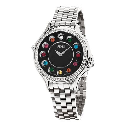 Fendi Women's 'CrazyCarats' Black Dial Stainless Steel Diamond Swiss Quartz Watch