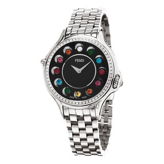 Fendi Women's F107031000B0T05 'CrazyCarats' Black Dial Stainless Steel Diamond Swiss Quartz Watch