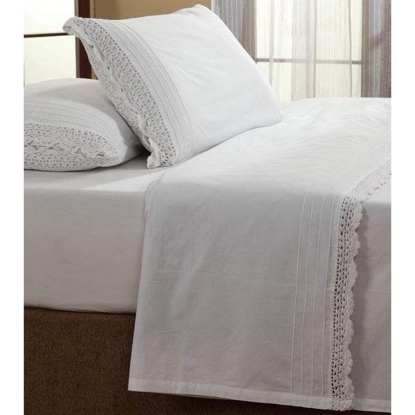 Bella White Ruffled Crochet Pillowcases (Set of 2)