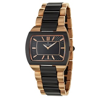 Charmex Corfu 6246 Women's Black Ceramic and Stainless Steel Rose Gold Plated Watch