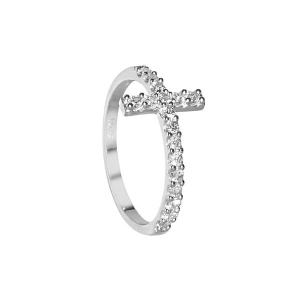 14K Solid White Gold Polished Sideways Cross Design Ring Size 5-8