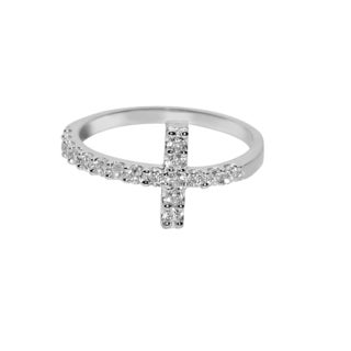 14k White Gold Round Cubic Zirconia Sideways Cross Ring