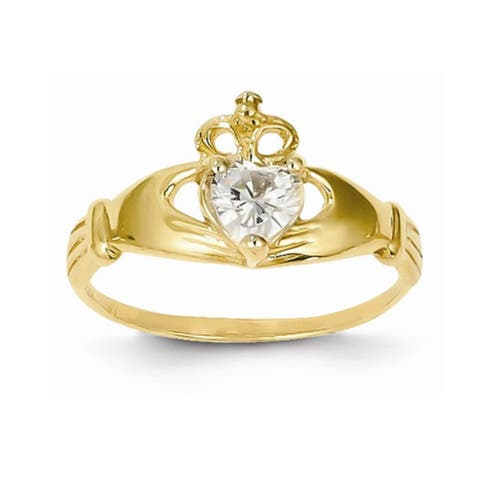 14k Yellow Gold Heart-Shaped Cubic Zirconia Classic Claddagh Ring