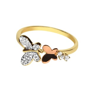 14k Two-tone Gold Cubic Zirconia Cascading Butterfly Fashion Ring