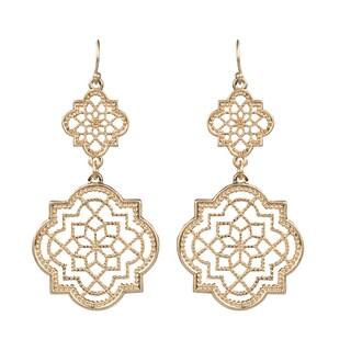 Brass Gold Filigree Cutout Dangle Earrings