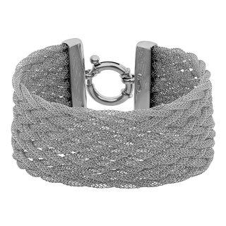 Argento Italia Rhodium Plated Sterling Silver Braided Mesh Bracelet (7.75 inches)