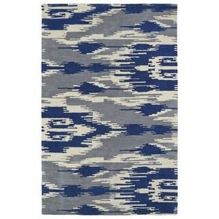 Handmade de Leon Wool Grey & Blue Ikat Rug (8' x 10')