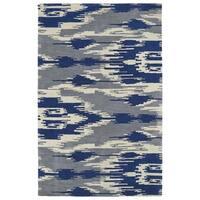 Handmade de Leon Wool Grey & Blue Ikat Rug - 8' x 10'