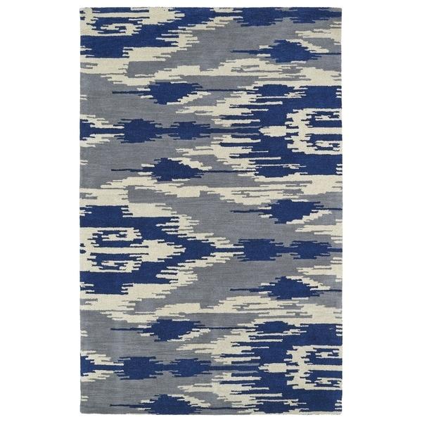 Handmade de Leon Wool Grey & Blue Ikat Rug - 5' x 8'