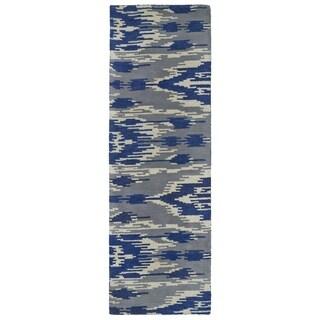 Handmade de Leon Wool Grey & Blue Ikat Rug (2'6 x 8')