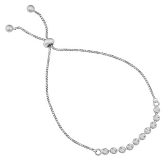 Argento Italia Rhodium Plated Sterling Silver Diamond-cut Beads Adjustable Length Bracelet