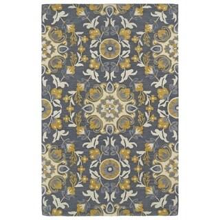 Handmade de Leon Wool Grey Suzani Rug (5' x 8')