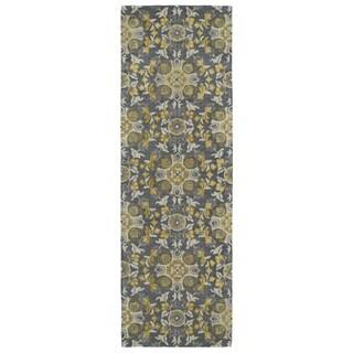 Handmade de Leon Wool Grey Suzani Rug (2'6 x 8'0)