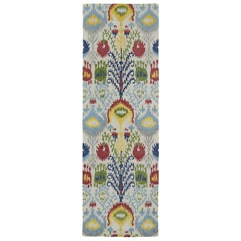 "Handmade de Leon Wool Multi Ikat Rug (2'6 x 8'0) - 2'6"" x 8'"