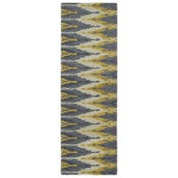 Handmade de Leon Wool Grey & Gold Ikat Rug - 2'6 x 8'