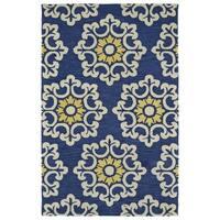 Handmade de Leon Wool Blue Suzani Rug - 5' x 8'