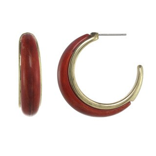 Alexa Starr Coral & Goldtone Hoop Earrings
