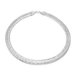 Sterling Essentials Italian Silver Mesh Collar Necklace - White
