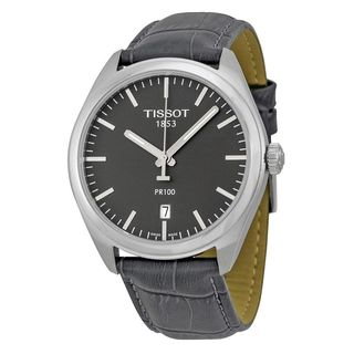 Tissot Men's T1014101644100 'PR 100' Black Leather Watch