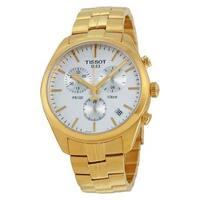 Tissot Women's T101.417.33.031.00 'PR 100' Silver Dial Yellow Goldtone Stainless Steel Chronograph Swiss Quartz Watch