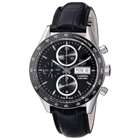 Tag Heuer Men's CV201AG.FC6266 'Carrera' Chronograph Automatic Black Leather Watch