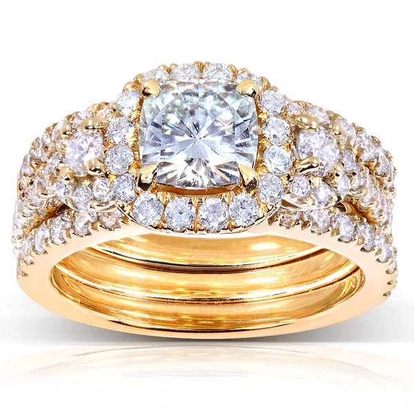 Annello by Kobelli 14k Yellow Gold 2 1/2ct TGW Forever One DEF Moissanite and Diamond 3-Piece Unique Bridal Rings Set