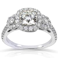 Annello by Kobelli 14k White Gold 1 7/8ct TGW Forever One DEF Cushion Moissanite and Diamond 3-Stone Halo Engagement Ring