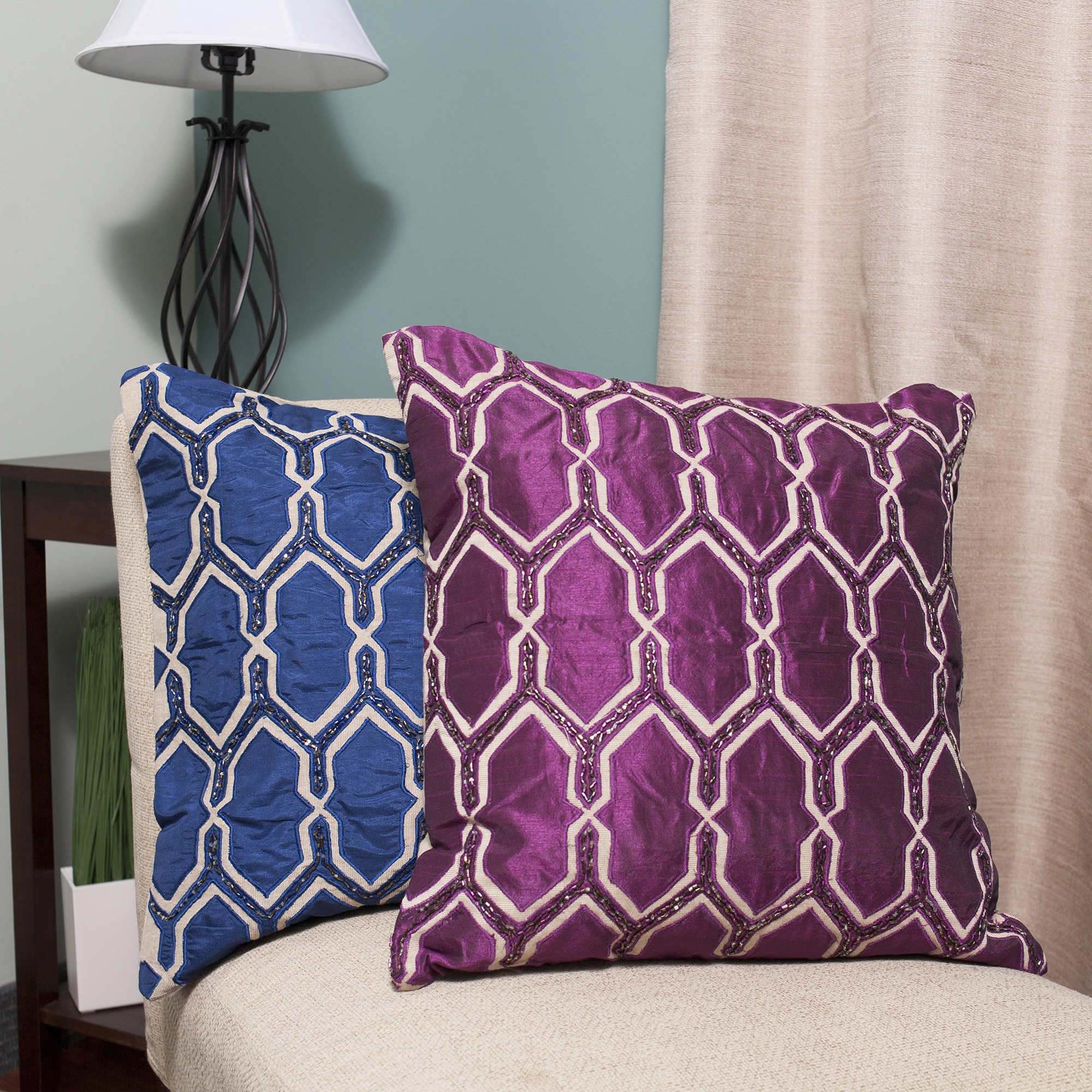 Luxury Zippered Faux Silk Beaded 20-inch Throw Pillow She...