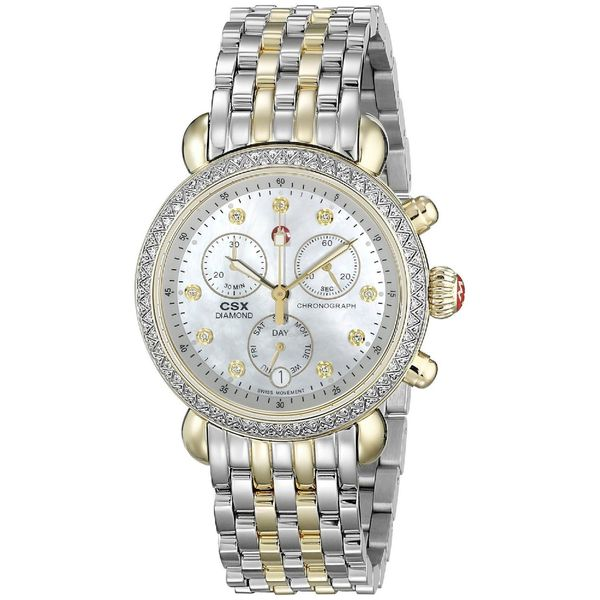 083249b9bee2c Shop Michele Women s  CSX 36  Chronograph Diamond Two-Tone Stainless ...