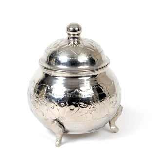 Handmade Brass Silver Plated Sugar Bowl Large Size Tea / Coffee Canister (Tunisia)
