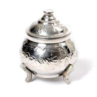 Handmade Brass Silver Plated Sugar Bowl Medium Size Tea / Coffee Canister (Tunisia)