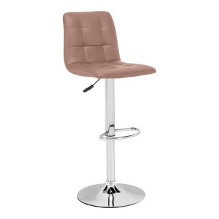 Oxygen Biscuit Tufted Leatherette and Chrome Adjustable Bar Chair