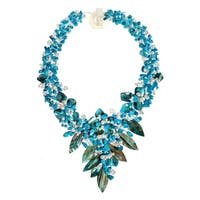 Handmade Fashion Floral Bouquet Stone and Shell Tapered Necklace